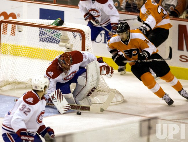 Montreal Canadiens goalie Leighton blocks a shot by the Flyers in Philadelphia