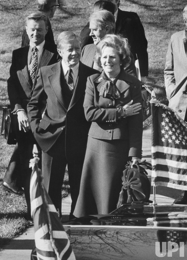 President Jimmy Carter meets with Margaret Thatcher at the White House