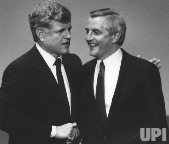 Sen. Edward (Ted) Kennedy greets Walter Mondale at Democratic National Convention