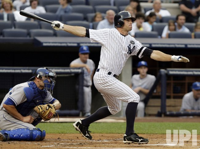 New York Yankees Brett Gardner hits a double at Yankee Stadium in New York