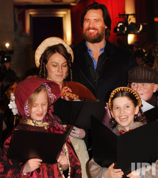 Jim Carrey attends A Christmas Carol premiere in London