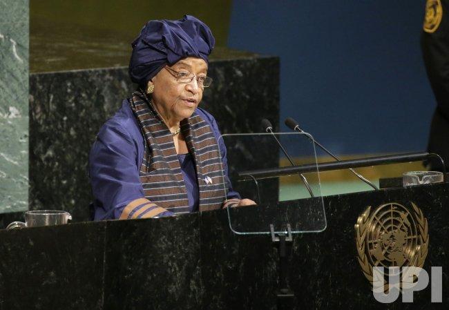 Liberian President Ellen Johnson-Sirleaf at the UN