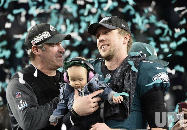 Eagles coach Doug Pederson, QB Nick Foles celebrate 41-33 Super Bowl LII win in Minneapolis