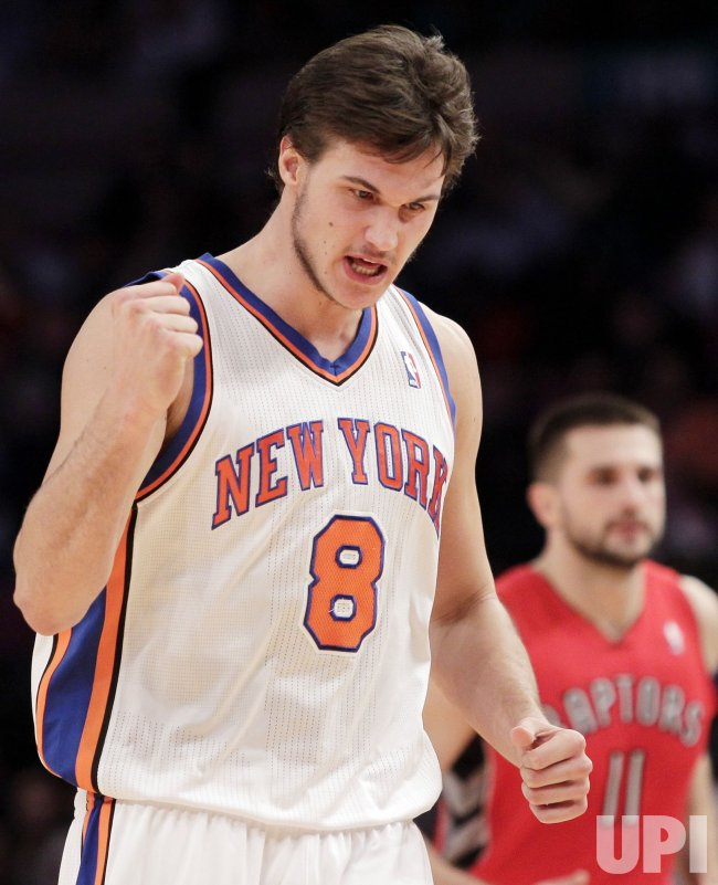 New York Knicks Danilo Gallinari reacts at Madison Square Garden in New York