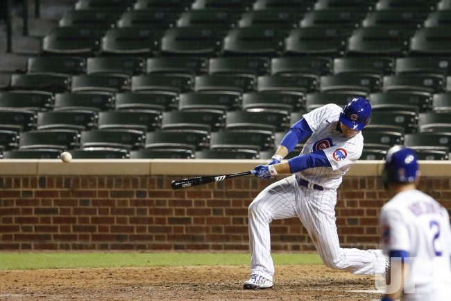 Cubs Anthony Rizzo hits two-run single at Wrigley Field in Chicago