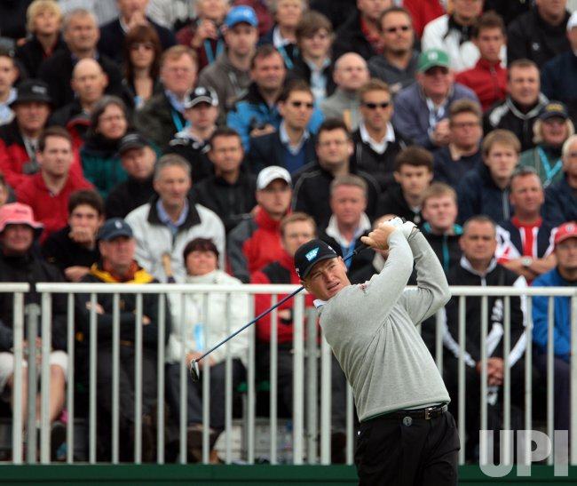 Ernie Els tees off on the 1st Hole during the Open Championship in England