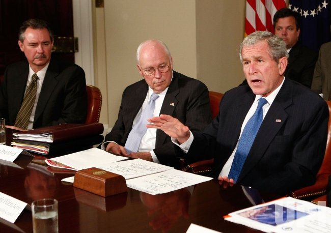 U.S. President Bush speaks about mid-west floods in Washington
