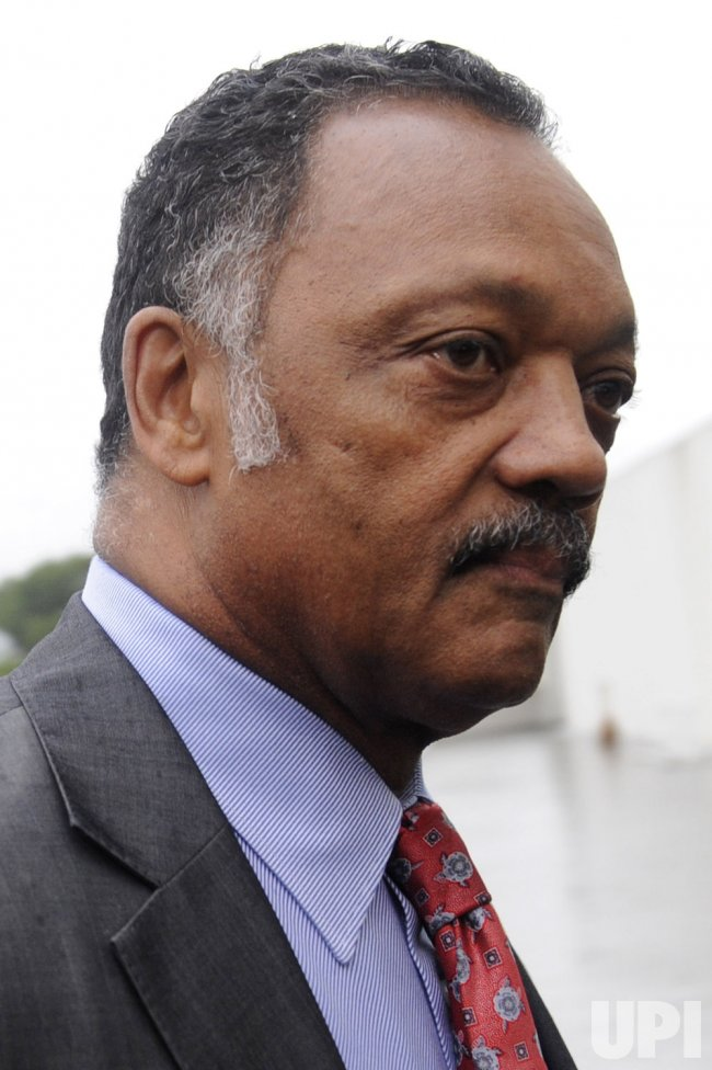 Jesse Jackson arrives at Senator Kennedy's memorial service in Boston