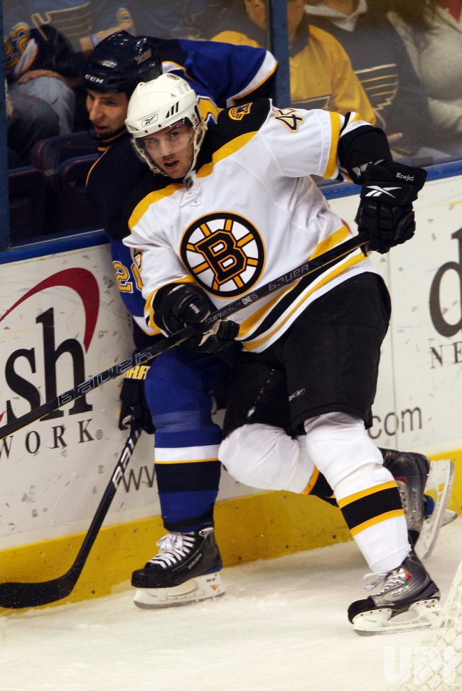 Boston Bruins David Krejci and St. Louis Blues Alex Steen