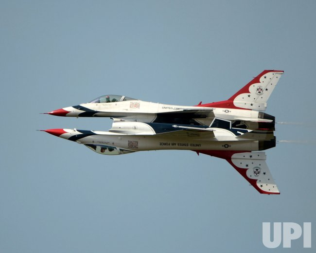 The USAF Thunderbirds perform at the Tico Air Show in Titusville, Florida.