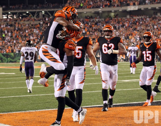Bengals Tyler Boyd celebrates after scoring a touchdown