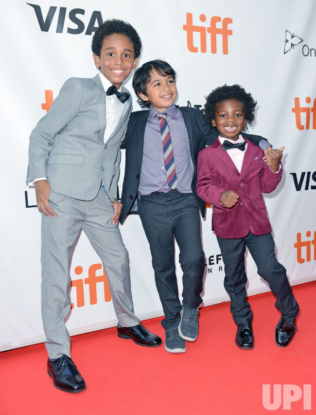 Aiden Akpan, Callan Faris and Reece Cody attend 'Kings' premiere at Toronto International Film Festival