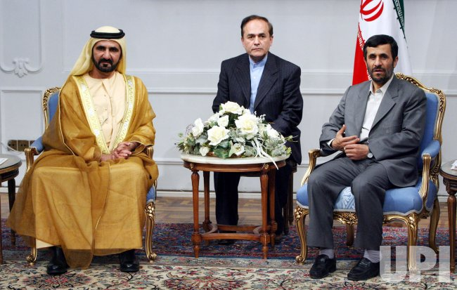 Iran's President Mahmoud Ahmadinejad meets UAE Prime Minister Sheikh Mohammed bin Rashid al-Maktoum in Tehran
