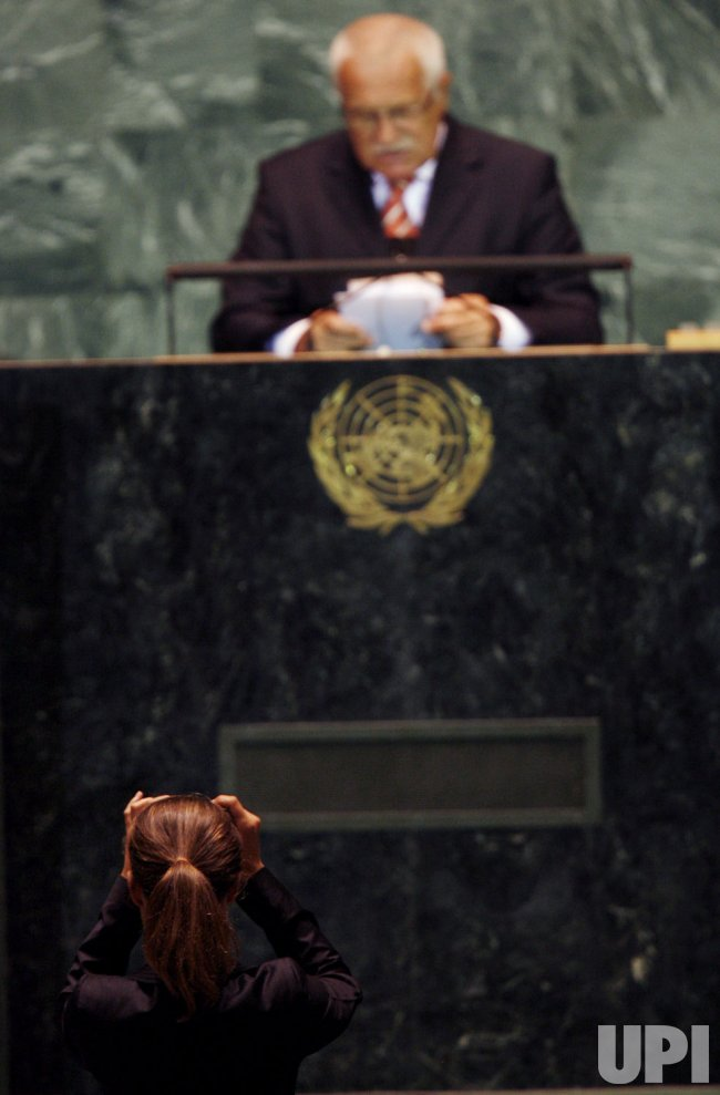 President of the Czech Republic Vaclav Klaus speaks at the 64th United Nations General Assembly at the UN in New York