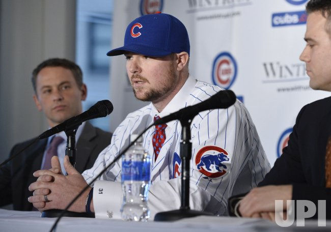 Chicago Cubs Introduce Pitcher Lester at News Conference in Chicago