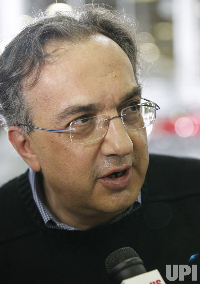 Chrysler CEO Sergio Marchionne talks to reporters in Detroit