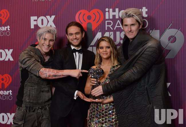 Michael Trewartha, Zedd, Maren Morris and Kyle Trewartha win award at iHeartRadio Music Awards in Los Angeles