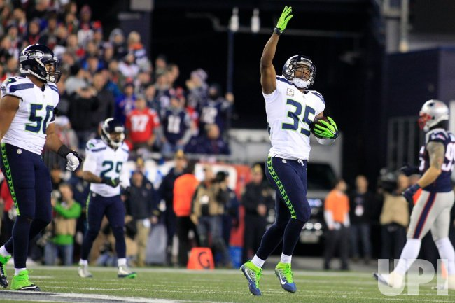 Seahawks Shead celebrates interception against Patriots