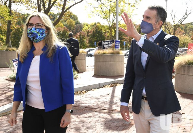 Virginia Gov. Northam greets early voters in Fairfax County