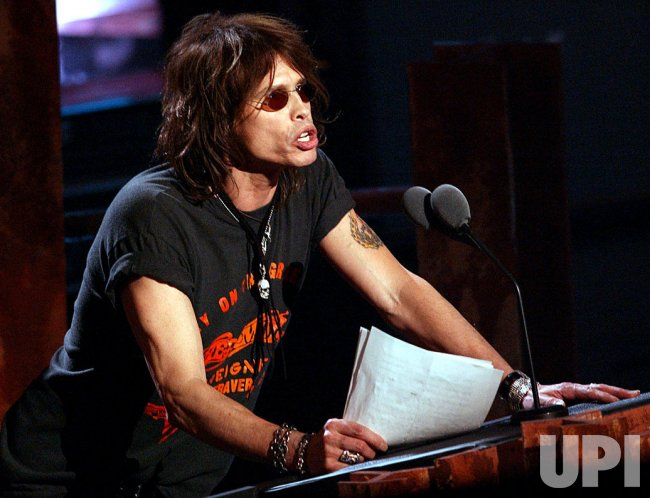 Steven Tyler speaks at the Rock and Roll Hall of Fame
