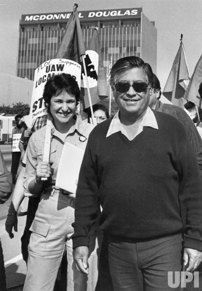 UFW leader Cesar Chavez marches with striking United Auto Workers in Long Beach