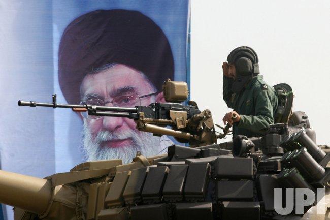 Iranian military forces parade during Iran's defense week