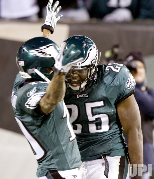 Philadelphia Eagles LeSean McCoy celebrates with teammate DeSean Jackson his 50-yard touchdown.