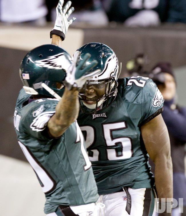 Philadelphia Eagles LeSean McCoy celebrates with teammate DeSean Jackson his 50-yard touchdown.