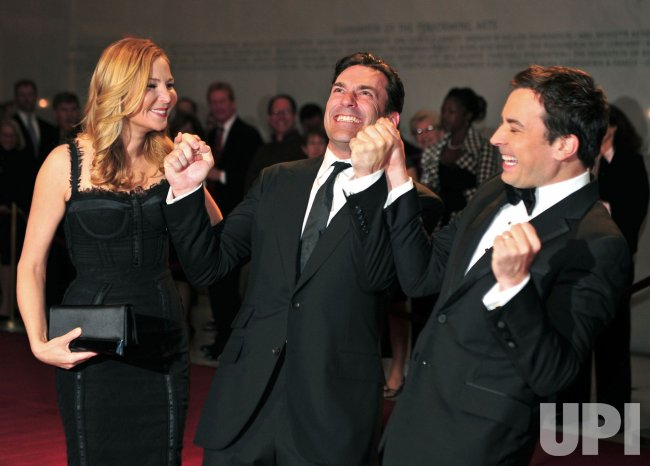 Seth Meyers, Jon Hamm and Jennifer Westfeldt arrive for the 2010 Mark Twain Prize in Washington