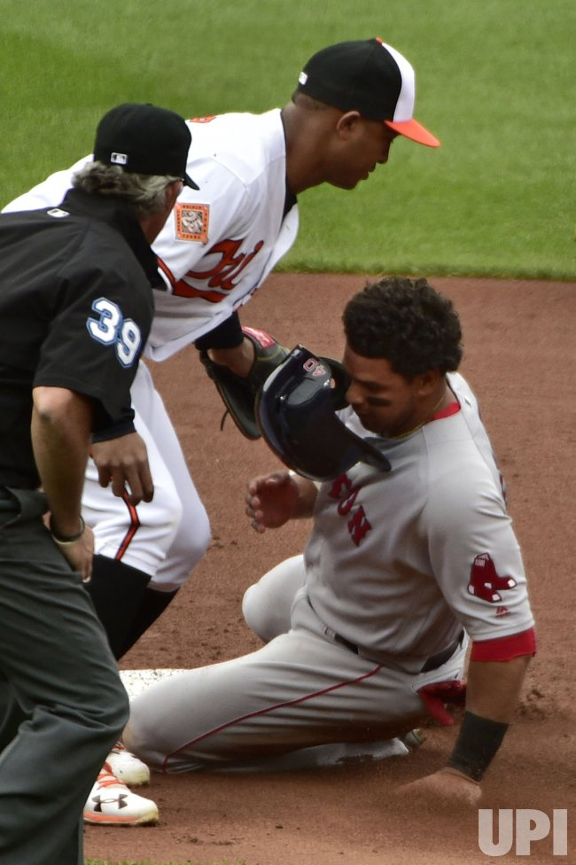 Red Sox Marco Hernandez tagged out by Baltimore Orioles' J.J. Hardy on attempted steal in 6th