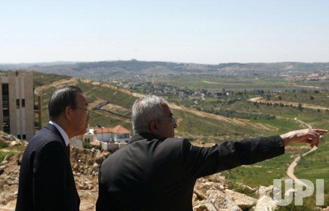 U.N. Secretary General Ban ki-Moon and Palestinian Prime Minister Salam Fayyad meet in Ramallah