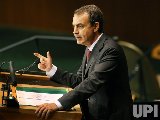 Spanish President Jose Luis Rodríguez Zapatero speaks at Millennium Development Goals Summit at the United Nations