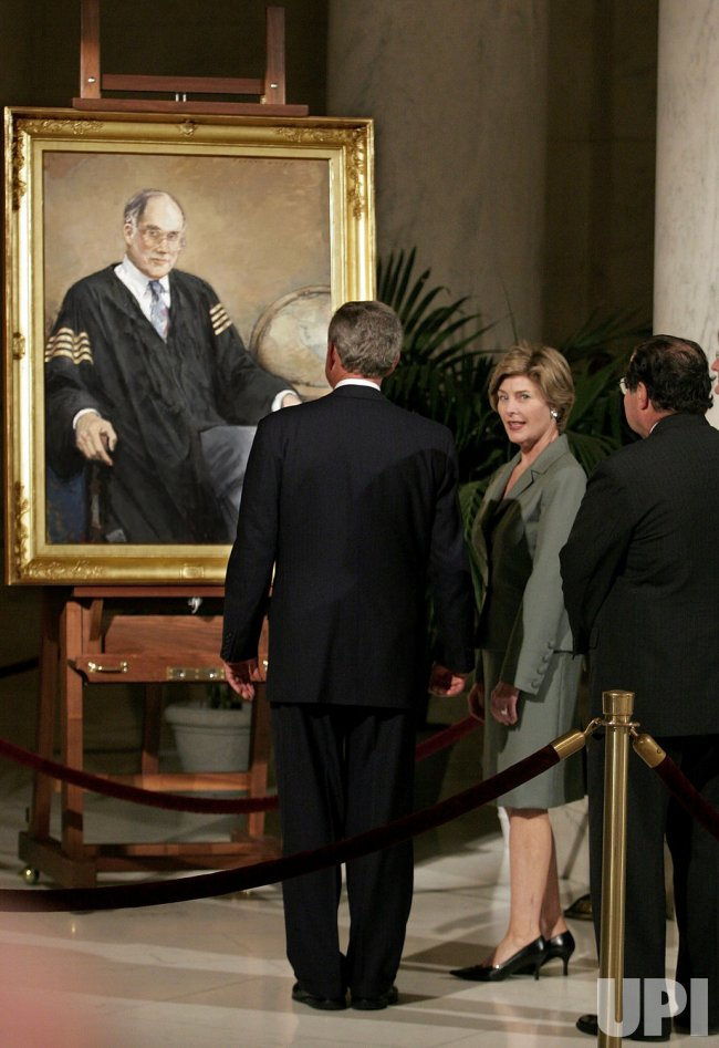 President Bush Views Casket Of Chief Justice Rehnquist