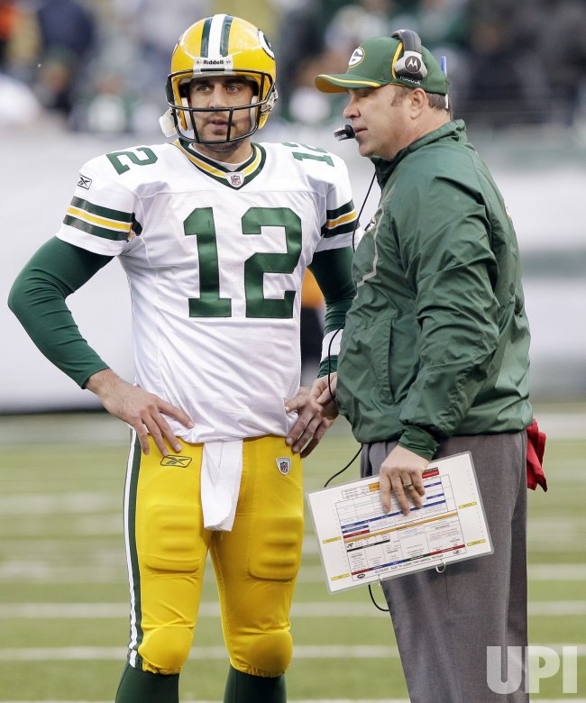 Green Bay Packers Aaron Rodgers and head coach Mike McCarthy at New Meadowlands Stadium in New Jersey