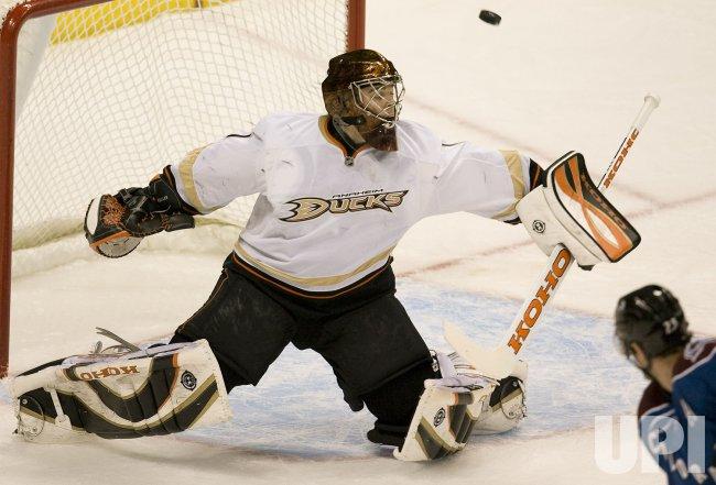 Ducks Goalie Hiller Makes Save Against Avalanche in Denver