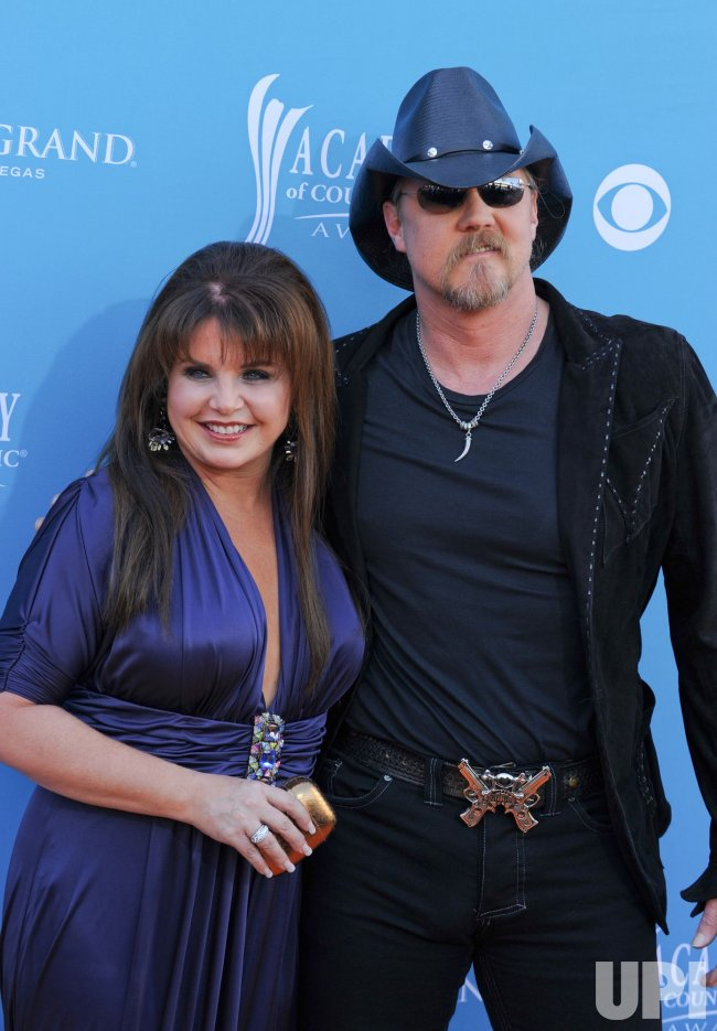 Trace Adkins and wife Rhonda Forlaw arrive at the ACM Awards in Las Vegas