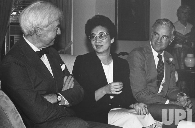 Corazon Aquino with Dr. Benjamin Brown and President Derek Bok of Harvard