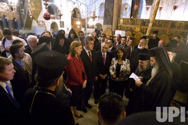 British PM Gordon Brown visits the Church of the Nativity in Bethlehem