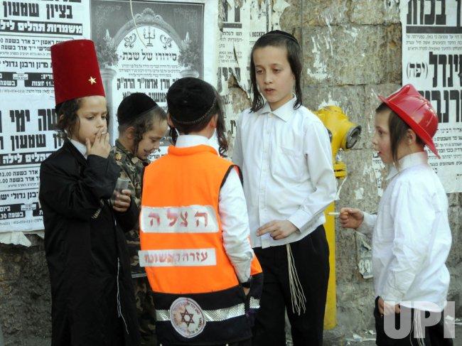 Ultra-Orthodox Israelis celebrate Purim in Jerusalem