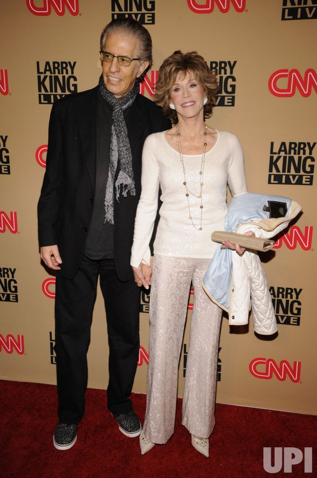 Jane Fonda and Richard Perry attend a party for Larry King's final daily broadcast on CNN held in Beverly Hills, California
