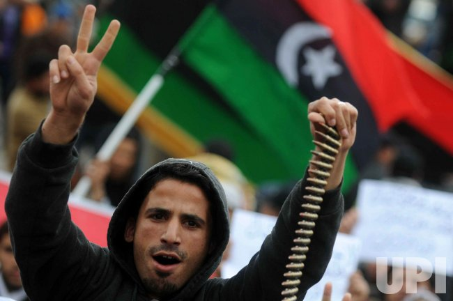 Libyan Rebels Protest of Against Moammar Gadhafi's Regime in Benghazi
