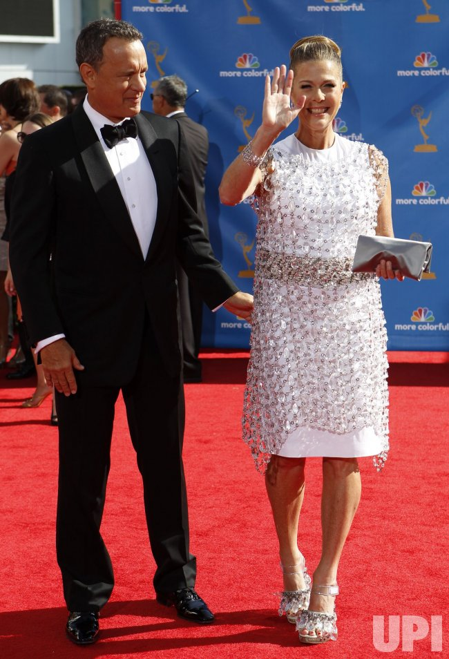 Tom Hanks and wife Rita Wilson arrive at the 62nd Primetime Emmy Awards in Los Angeles
