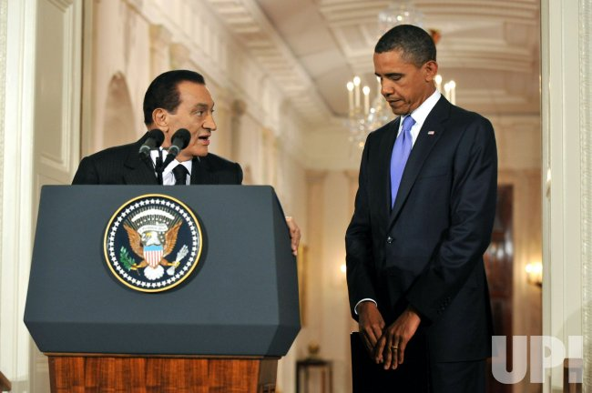President Hosni Mubarak of Egypt speaks in Washington