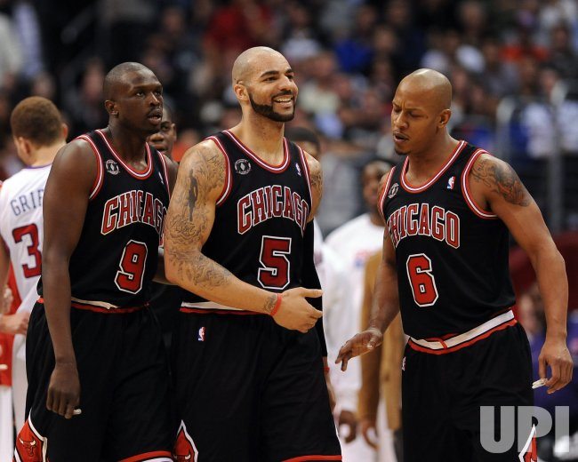 Bulls Carlos Boozer smiles after victory over the Clippers