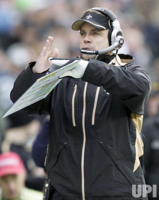 New Orleans Saints' head coach Sean Payton calls for a time out in Seattle.