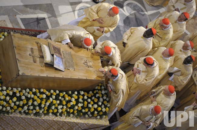 Prelates pay respect at the coffin of Pope John Paul II at beatification in the Vatican