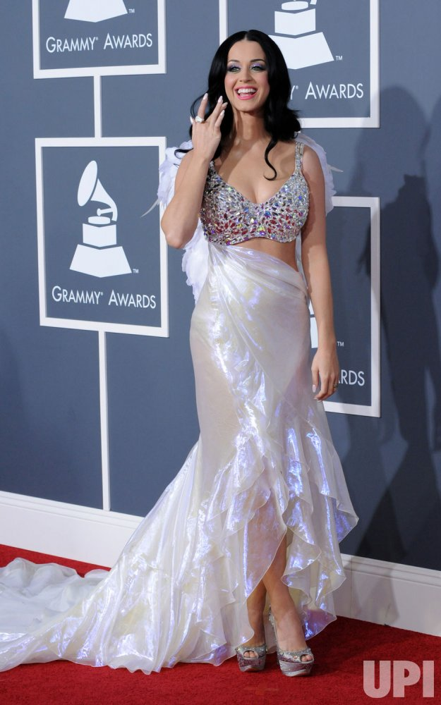 Katy Perry arrives at the 53rd annual Grammy Awards in Los Angeles