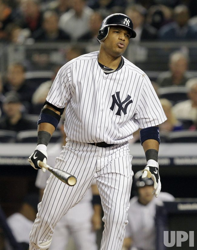 New York Yankees Robinson Cano reacts at Yankee Stadium in New York