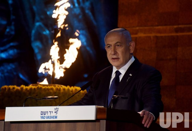 Israeli Prime Minister Benjamin Netanyahu Speaks At Holocaust Remembrance Day