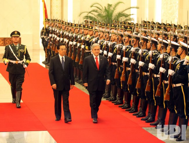 Chilean President Pinera attends welcoming ceremony in Beijing